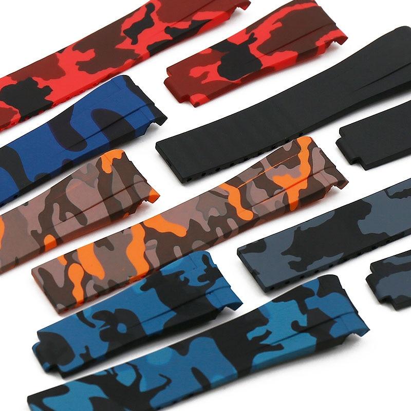 Camuflagem pulseira de borracha relógio masculino acessórios para rolex ghost di tong ghost rei gmt pulseira silicone à prova d20 água 20mm