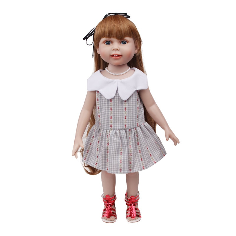 Doll clothes cute doll grey dress toy accessories fit 18 inch Girl doll and 43 cm baby dolls c560 cute resin bride and bridegroom toy doll