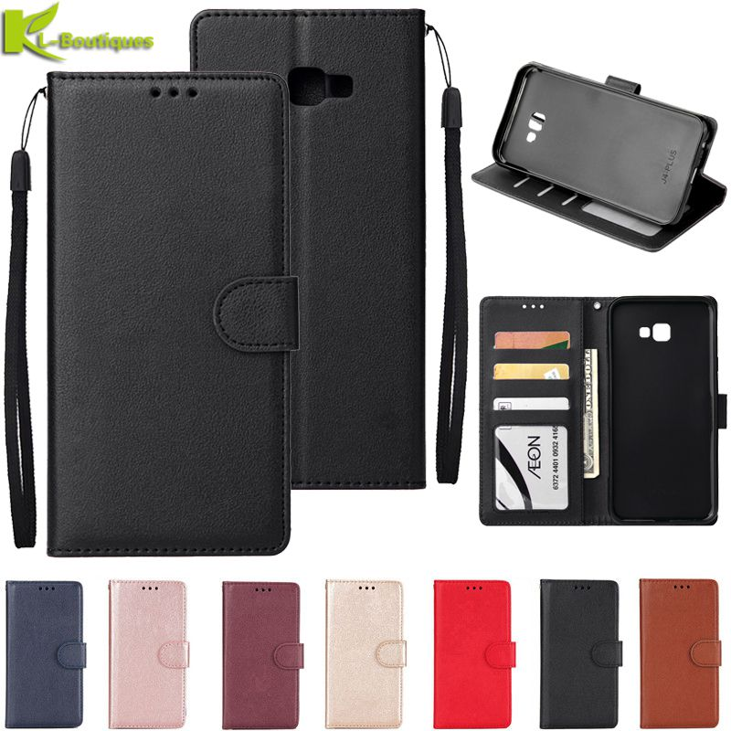 for Samsung Galaxy J4 Plus Leather Case on for Samsung J4 J6 Plus 2018 Cover Classic Style Flip Wall