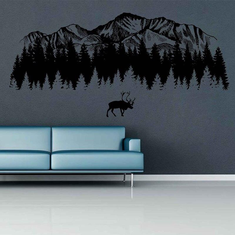 Calcomanías de pared de bosque de montaña calcomanías de pared de alce calcomanías de pared de montaña arte de pared de montaña decoración de guardería bosque habitación de bebé para dormitorios 3121