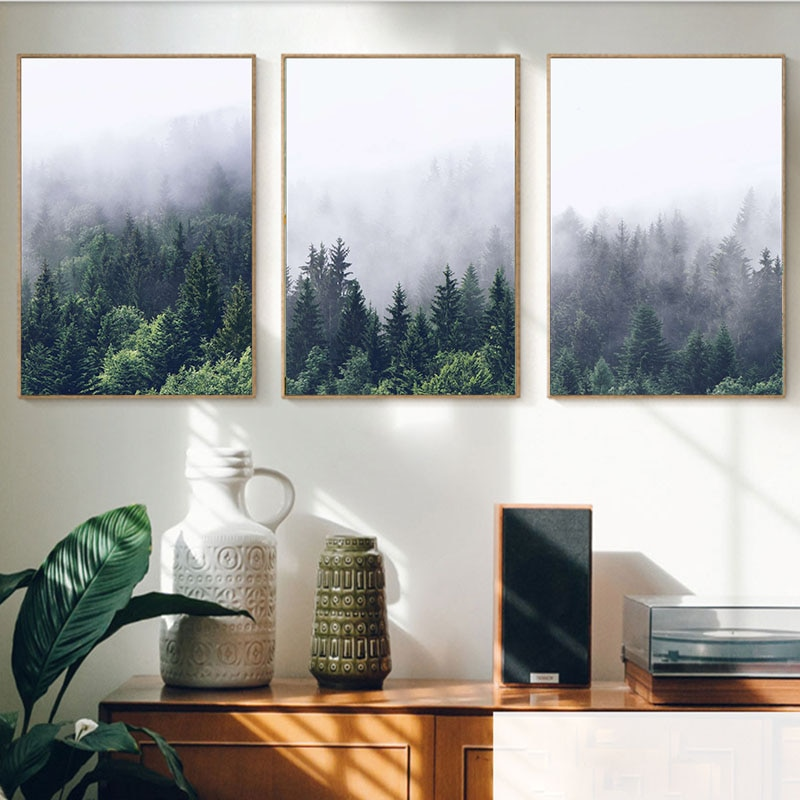 Minimalista nórdico niebla verde bosque lienzo pinturas pared vintage Kraft carteles recubierto pegatinas de pared decoración del hogar regalo familiar