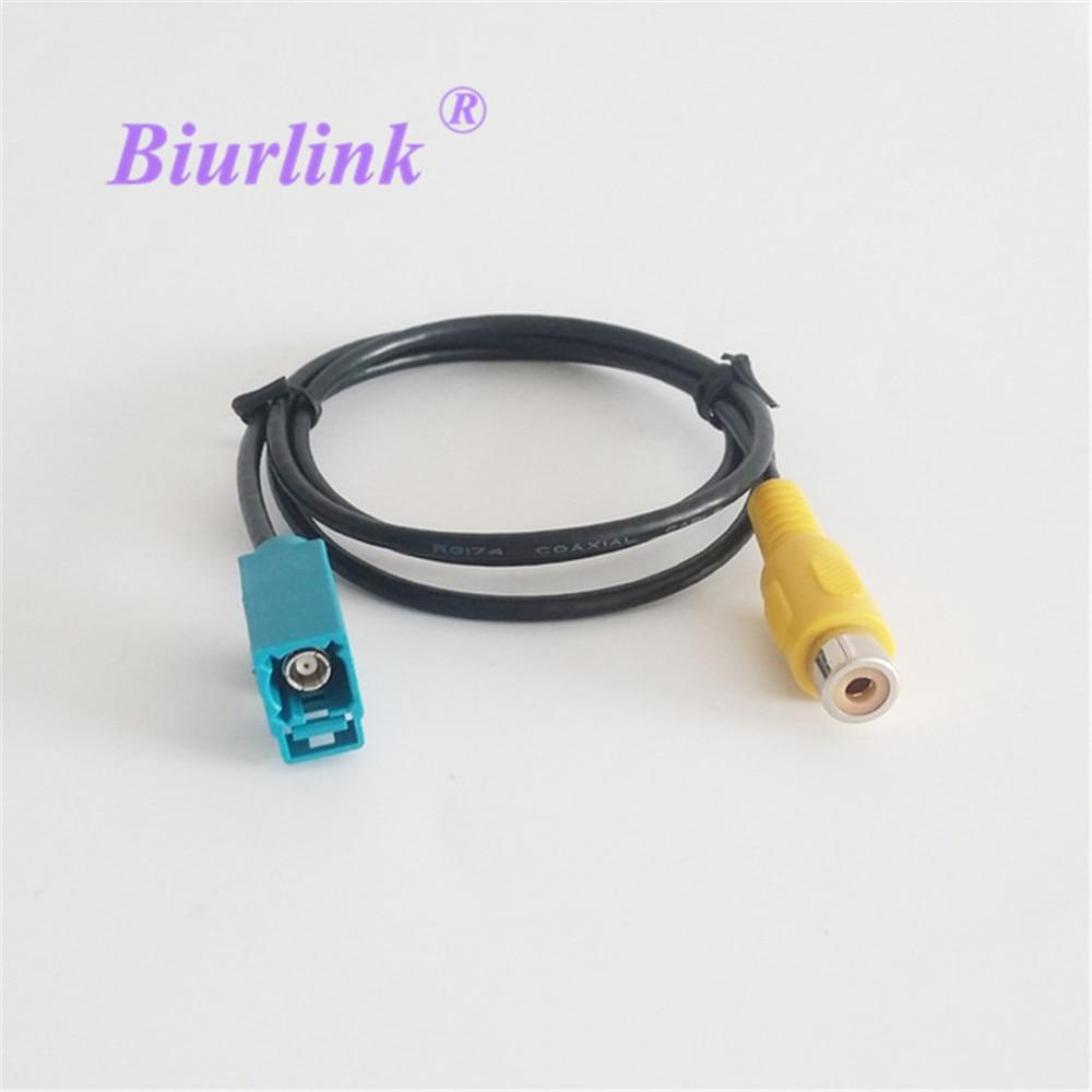 Адаптер для камеры заднего вида Biurlink Fakra, кабель для парковки видео RCA для VW Benz Volvo Ford