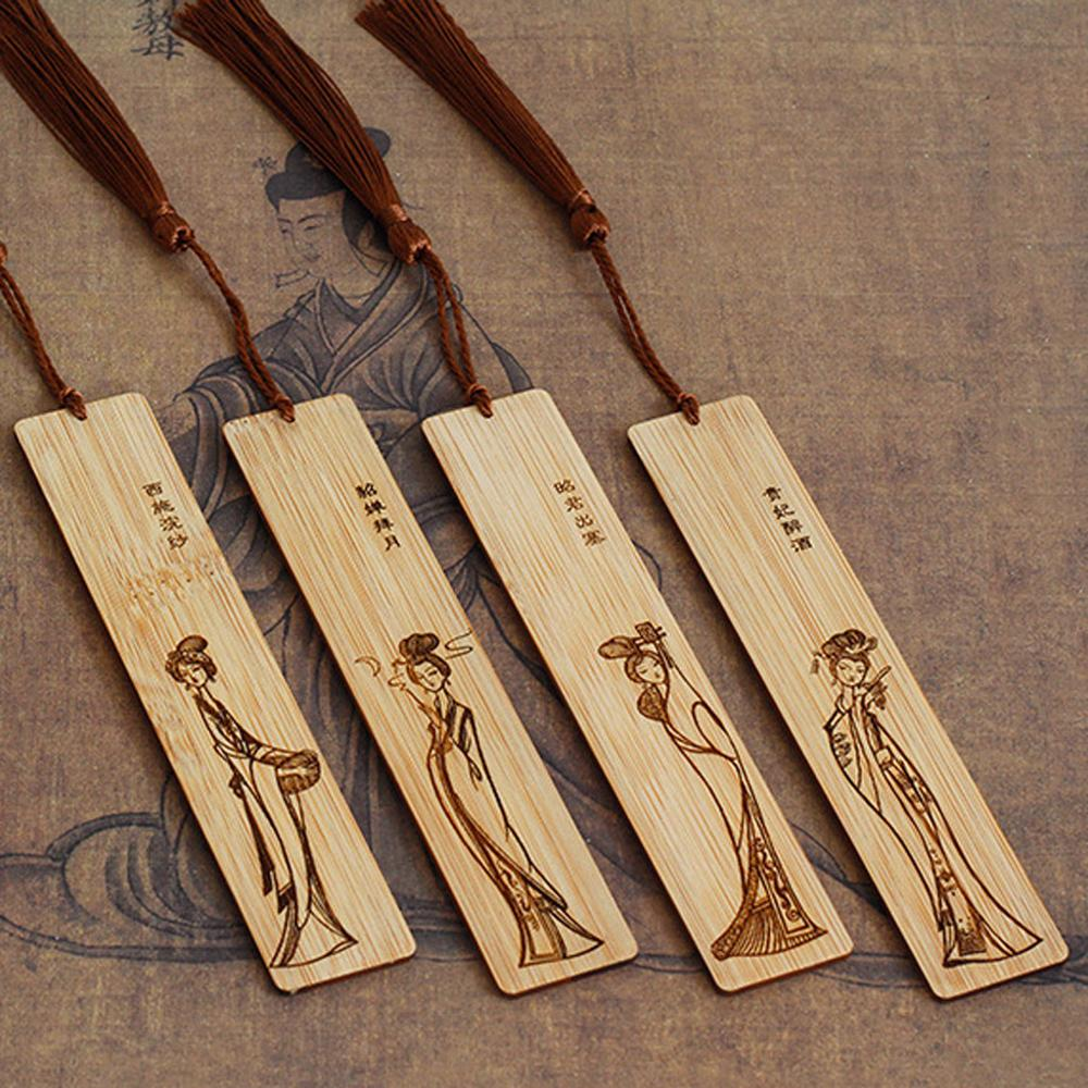 4pcs classic Chinese style hand-carved openwork fir wood chic bookmark decoration record quotation book holiday gift #3J20