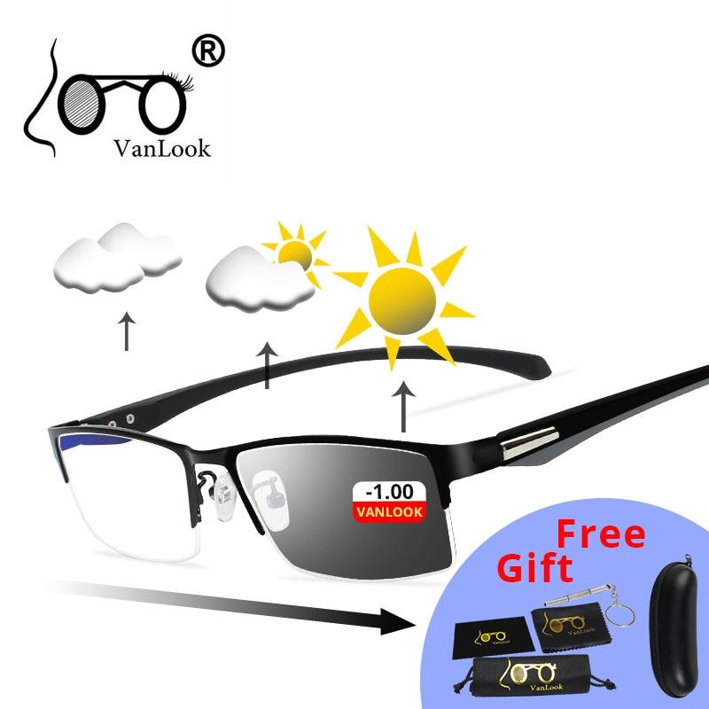 Photochromic Sunglasses Chameleon Lens Myopia Blue Light Blocking Men's Computer Glasses Game for Si