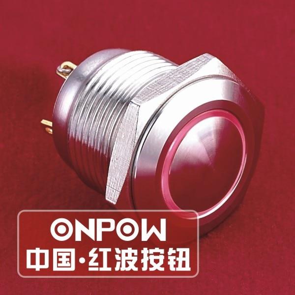 ONPOW 16mm actuador Domo anillo momentáneo iluminado Ojo de Ángel LED Acero inoxidable botón interruptor (GQ16B-10E/J /S) CE ROHS