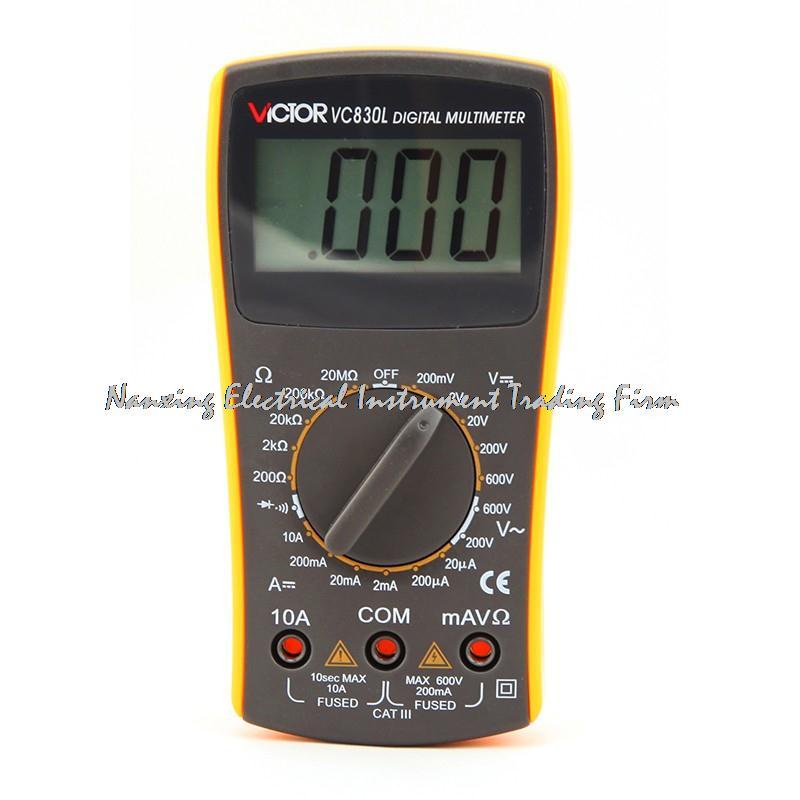 Chegada rápida mini bolso simples 2000 contagens faixa manual 10a 600 v uso de ensino resistência victor multímetro digital vc830l