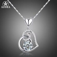 AZORA عيد الحب هدية من الحب واضح القلب أعلى درجة AAA زركون قلادة قلادة TN0156