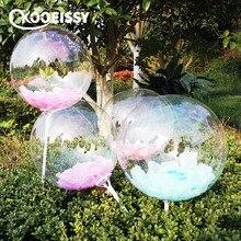 Feder 12/18/24/36 zoll BoBo Ballon Transparent PVC Ballon DIY Hochzeit Geburtstag Party Weihnachten Dekoration helium Ballon