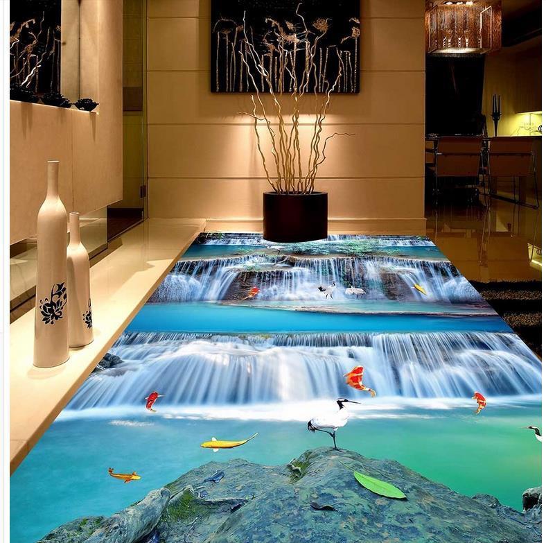 Современная Наклейка 3D Пол водопад пол ПВХ настенная бумага самоклеющаяся напольная роспись
