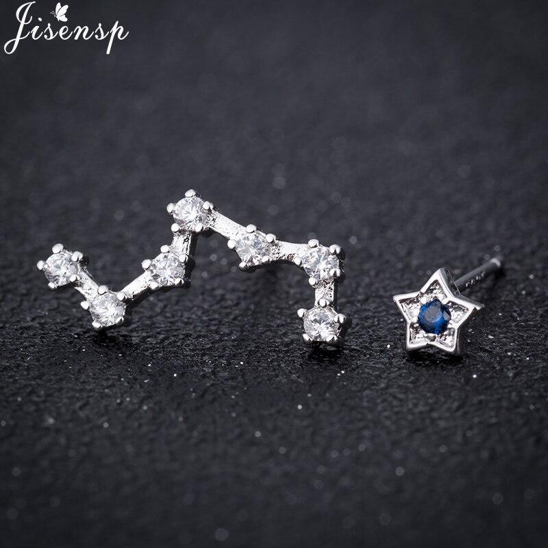 Jisensp geometría de lujo pequeño mate estrella pendientes CZ Dipper pendiente para las mujeres joyería pendiente, accesorio oorbellen venta al por mayor