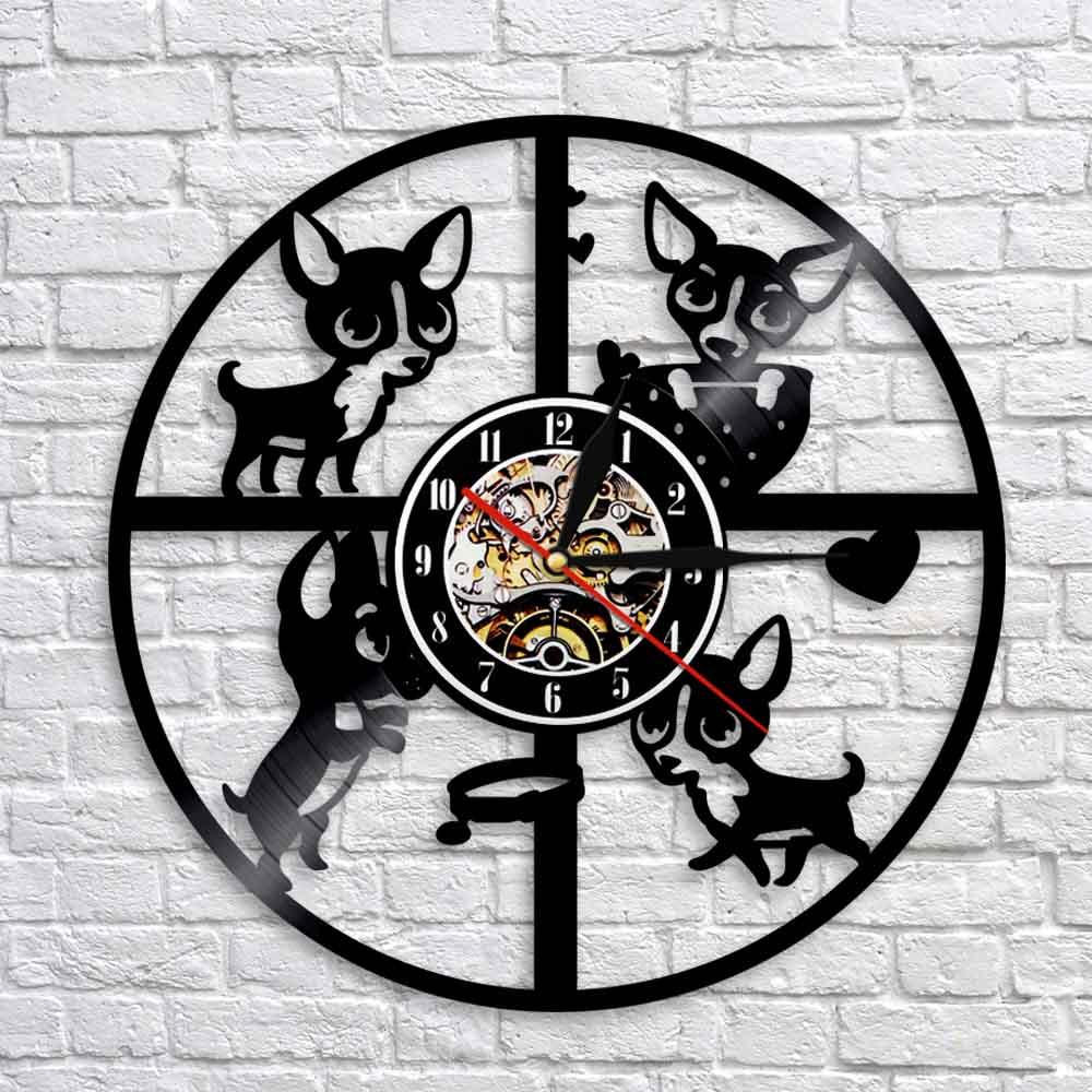 Reloj de pared de vinilo Vintage LP Record 3D Chihuahua precioso perro razas cachorro vivero decoración atística de pared Animal Relojes de pared modernos