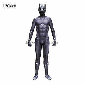Captain America 3 Civil War Black Panther King T'Challa Jumpsuit Cosplay Costumes With Mask Battle Suit Tights Costume for Men