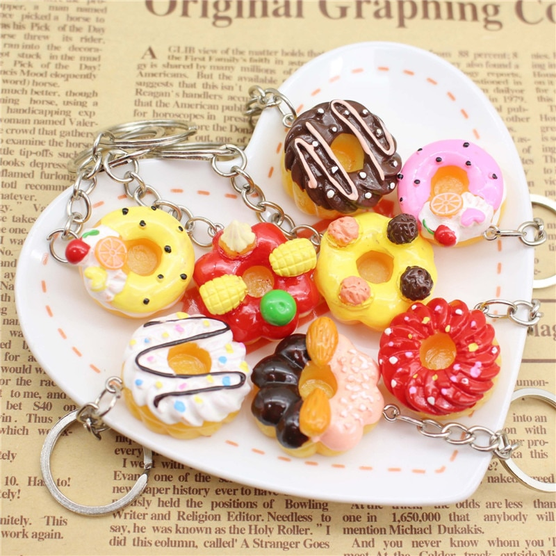 1 Uds lindo encantador comida de imitación de resina dona llavero con forma de tarta para mujeres niñas regalos coche bolsas de regalo de Venta caliente