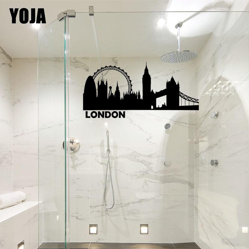 YOJA 12x24.2CM Famosa London Bridge Chuveiro Do Banheiro De Vidro Do Decalque Home Decor Adesivo Parede G2-0455