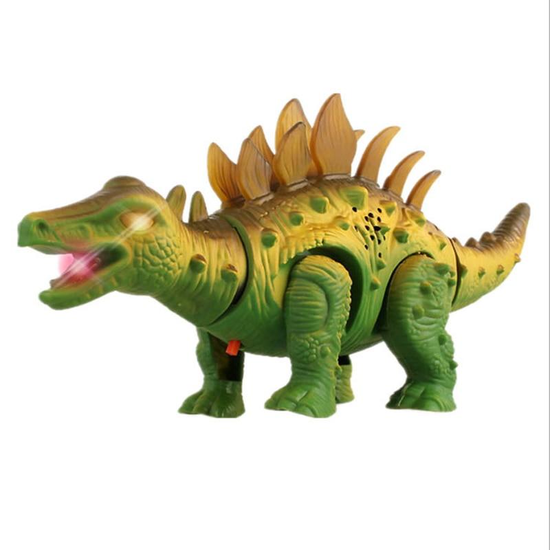 Robot Dinosaurs Toys Electronic Walking Stegosaurus LED Light Electric Animal Toy Jurassic World Din