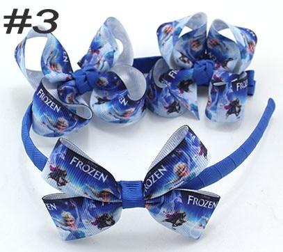 free shipping150set  3'' boutique hair bows and headbands HairBands headband with Dis ney  cartoon ribbon