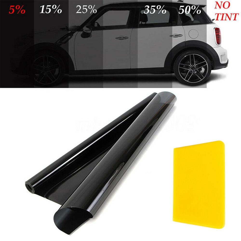 Nuevo 50*600cm película ventana coche tinte VLT rollo negro Auto pegatina ventana vidrio UV verano protector solar adhesivo película con palo de algodón