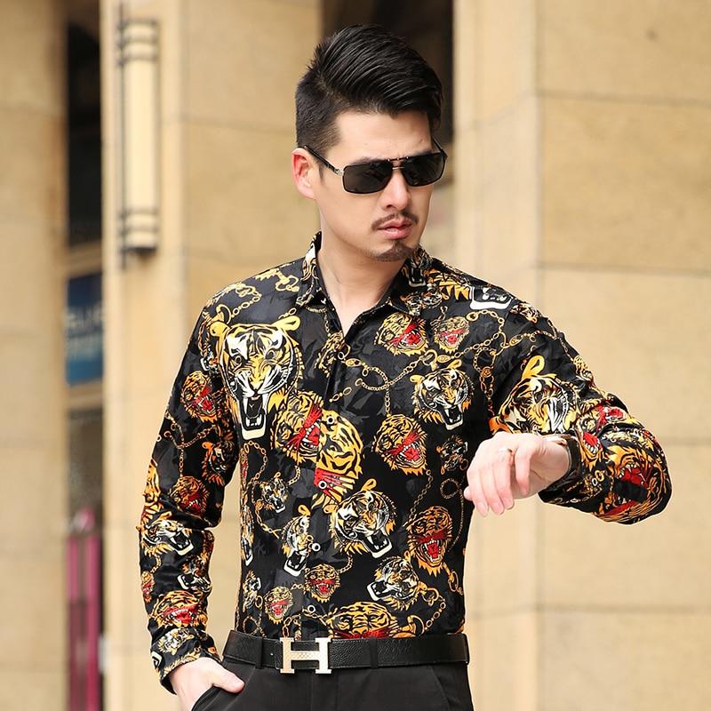 Autumn Men's Long Sleeve Shirt Male High Quality Tiger Casual Shirt Velvet Brand Formal Men Dress Shirts Slim Masculina Camisa