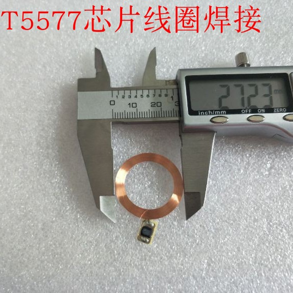 125KHz RFID ID gravável T5577 chip e bobinas COB e antena 10 pçs/lote 27 Diâmetro mm