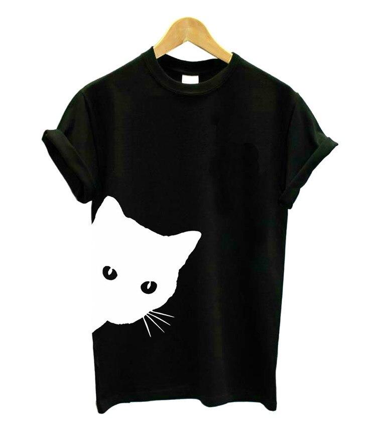 Camiseta divertida Dropshiping gato mirando hacia fuera dibujo lateral mujeres camiseta algodón camisas mujer Casual señora chica Top camiseta Hipster Tumblr