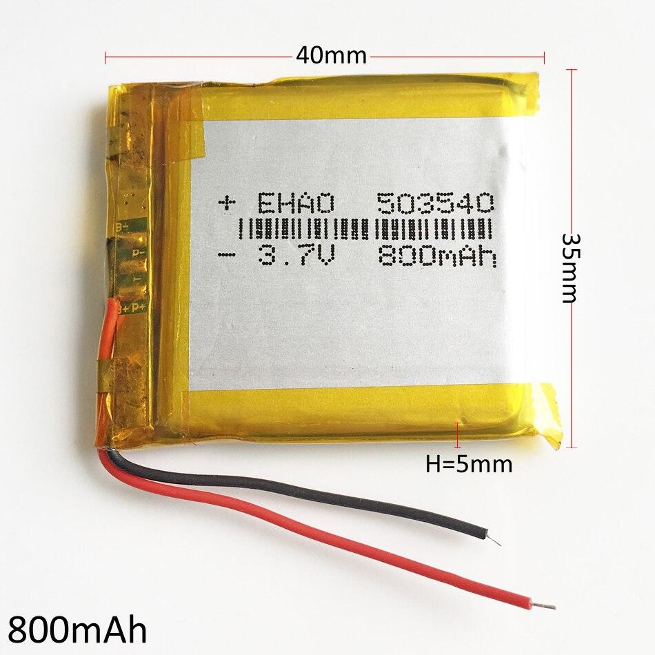Batería recargable LiPo de polímero de litio de 3,7 V 800mAh 503540 para cámara Mp3 PAD DVD E-book auriculares bluetooth smart watch 5*35*40