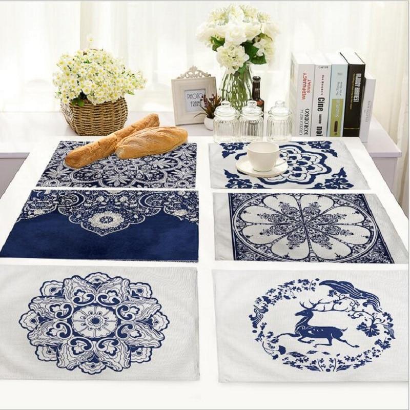 Manteles de porcelana azul y blanco de estilo chino, Mantel Individual de tela, Posavasos, mesa, alfombra decorativa, Manteles de cocina H214