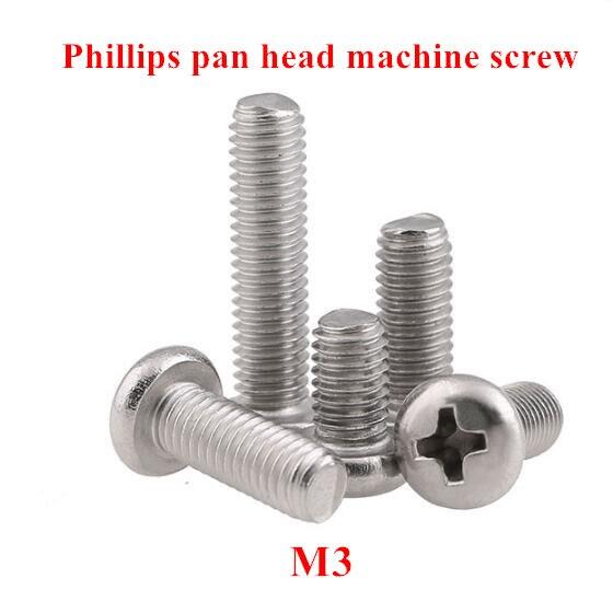 50 piezas M3 DIN7985 GB818 304 Acero inoxidable Cruz empotrada Pan cabeza tornillo tornillos philips M3 * 3/4 5/5/6/8/10/12/14/16/18/20mm
