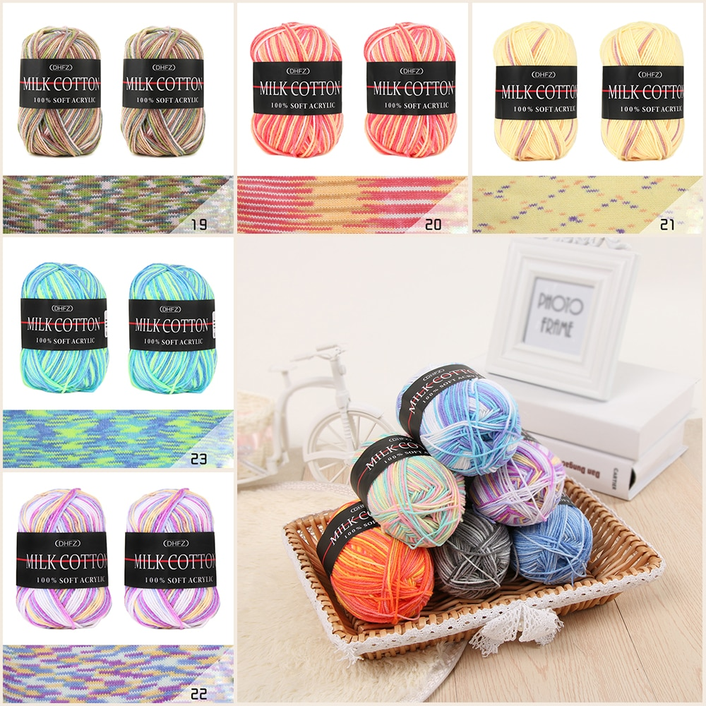 Liso colorido misto lote de trabalho 23 cores 50g dk tricô crochê leite diy artesanato macio bebê algodão lã fios acessórios de costura