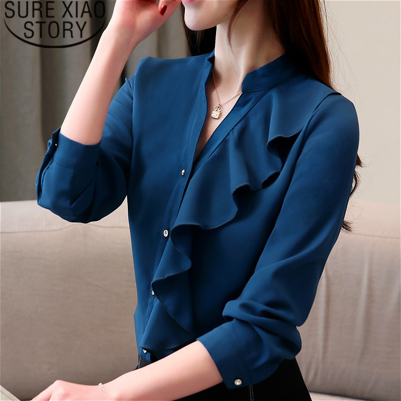 Blusas de moda para mujer 2020, tops y blusas para mujer, Blusa de gasa con volantes, camisas de manga larga, blusa blanca, soporte sólido 2354 50