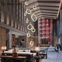 Nordic post-modern simple glass chandelier living room restaurant double staircase industrial wind creative art chandelier.