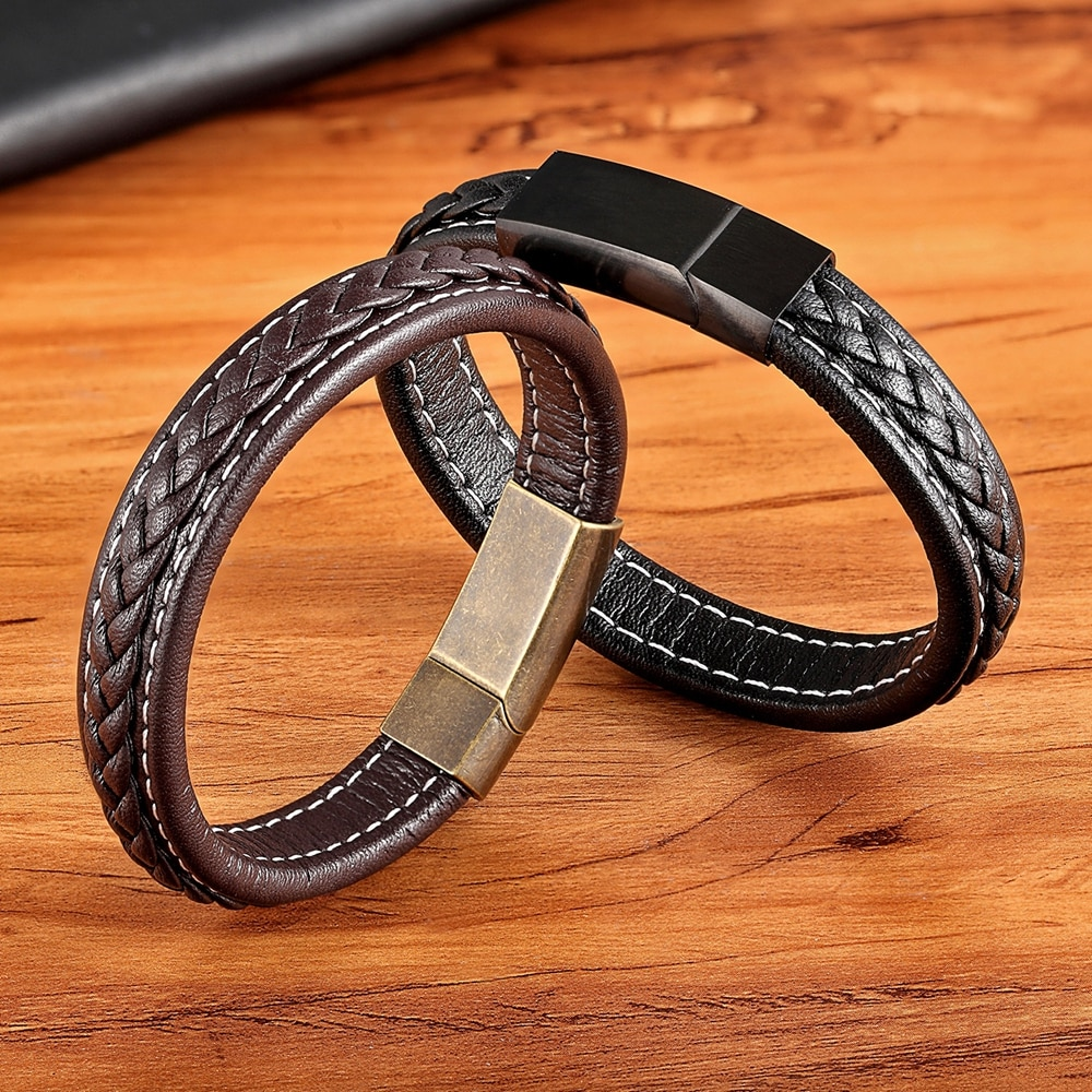 XQNI 2018 nueva de rejilla pulsera con textura Vintage hebilla pulsera de cuero genuino para hombre oro/Negro/Rosa accesorios de joyería