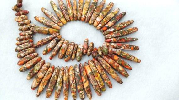 Оптовая продажа, ожерелье из джасмы, бусы, разноцветное впечатление, яшма, камень, зуб, шипы, острый Желтый oranger Nekclace Gemstone L