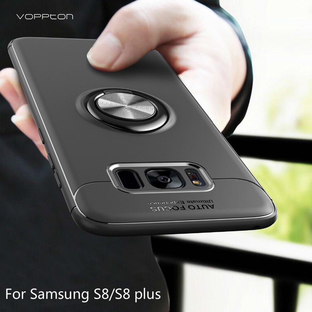 Para Samsung Galaxy S8, funda Plus, anillo de soporte de Metal para Samsung S8 Plus, funda trasera de silicona para Samsung Galaxy Note 8