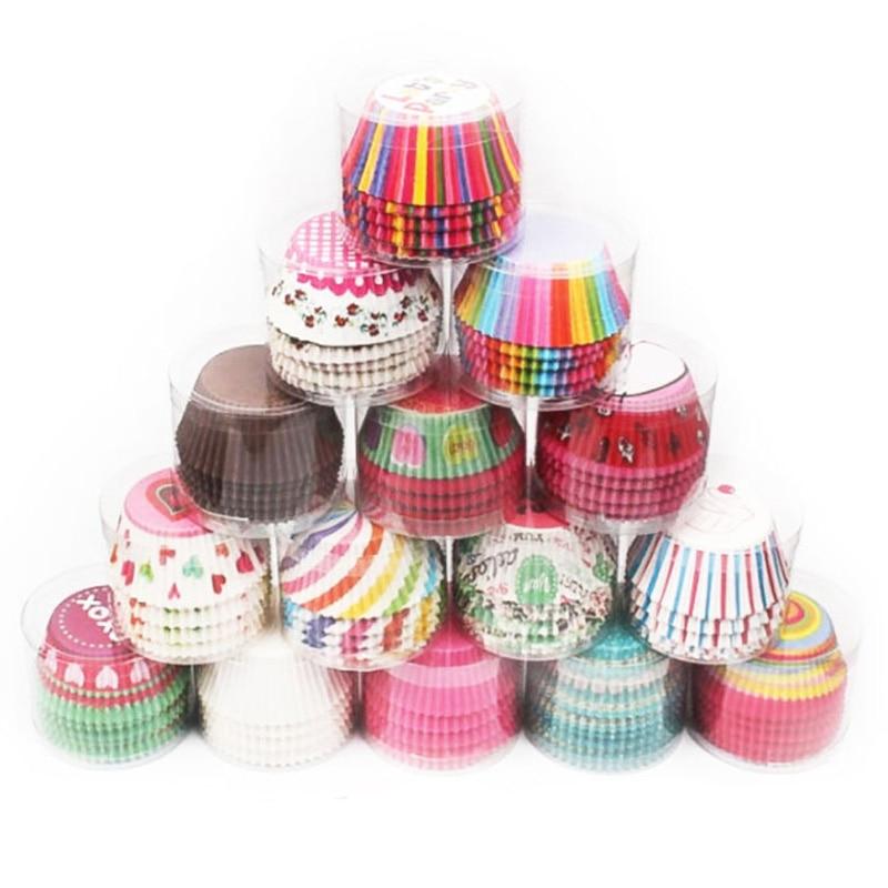 100 Uds., taza de papel para hornear, tazas de papel, caja de torta pequeña antiaceite, accesorios de cocina, revestimiento para cupcakes, herramientas de decoración de pasteles, utensilios para hornear