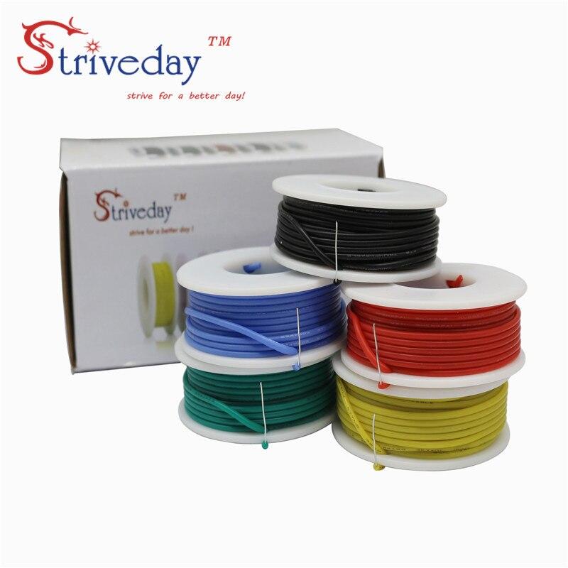 22AWG 30 м гибкий силиконовый сплошной электронный провод луженая медная линия 5 цветов смешанный пакет PCB кабель провода DIY