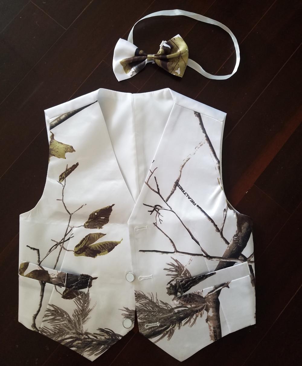 Белый детский жилет под смокинг, камуфляжный формальный свадебный жилет для мальчиков, изготовленный на заказ, бесплатная доставка