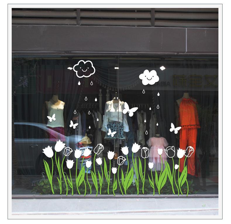 Tulip Flower window film romantic warm decoration wall stickers shop shops window glass decals skirting Corner line