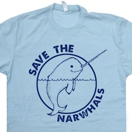 Tops Camisa Legal T Salvar Os Narvais T Shirt Engraçado Legal Dolphin Animal Baleias Unicórnio Do Vintage Tee O-pescoço Tshirt Homme