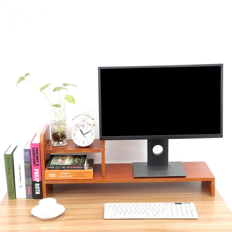 Soporte elevador de Monitor de ordenador portátil estante organizador de almacenamiento de madera de escritorio de oficina en casa