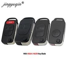 Jingyuqin flip dobrável remoto chave escudo 1/2/3/4 botão para mercedes benz slk e113 a c e s w168 w124 w202 w203 caso chave do carro automático