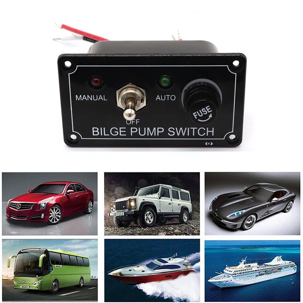 Panel de interruptor de bomba de achique de 3 vías LED barco marino Control Manual ON/OFF Auto DC 12V