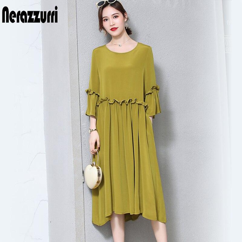 Nerazzurri чистый тяжелый шелк платья для женщин из натурального шелка 2019 элегантное высококачественное длинное летнее платье с оборками плюс р...