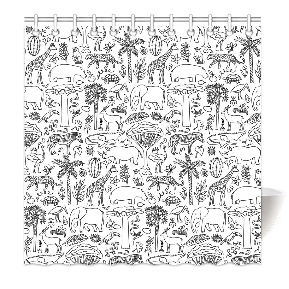HommomH Cortina de ducha pesas tela resistente al agua con ganchos baño dibujado a mano Animal mundo bosque Tropical lápiz