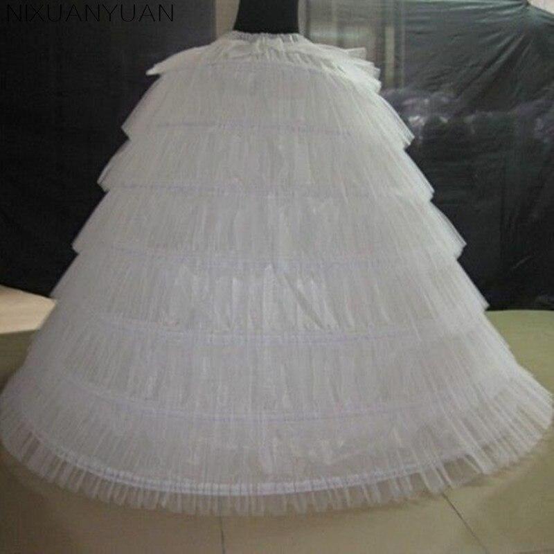 Tul blanco súper esponjoso grande enaguas largas 7 aros 7 Tieres vestido de bola vestidos de boda crinolina mujeres adultas Underskirt 120cm