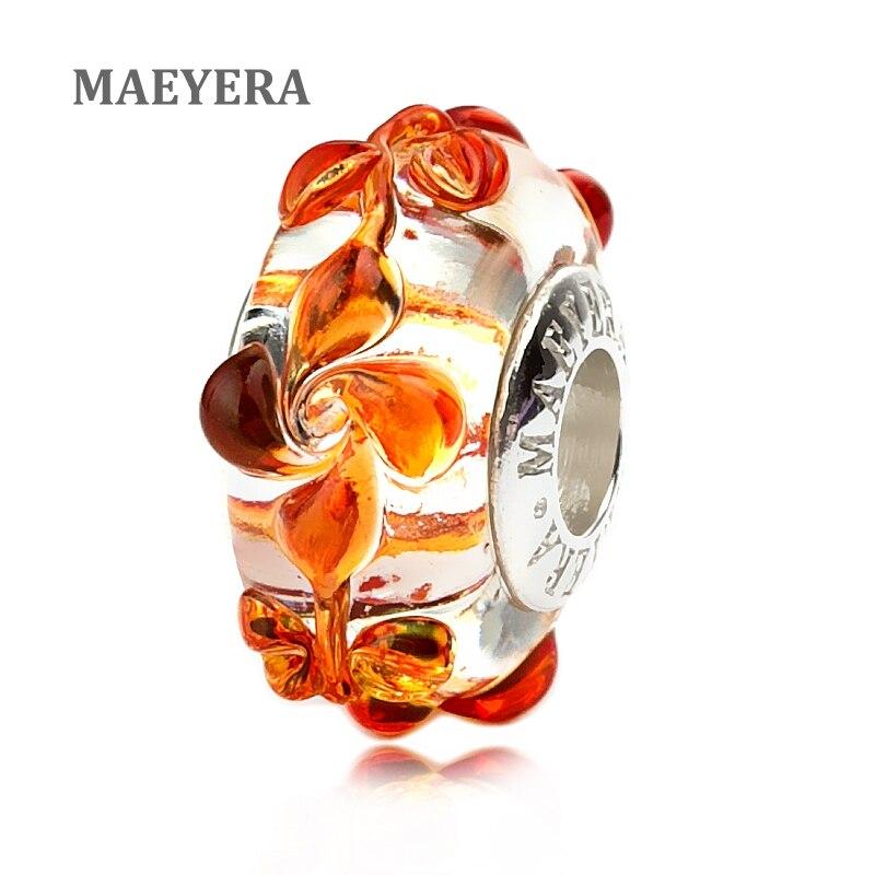 MAEYERA 925 cuentas de plata de ley Murano flor cristal de Murano rojo giratorio para pulsera de encanto europeo 920244