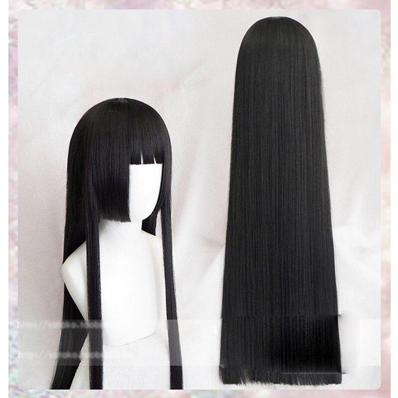 Pelucas largas y rectas Kakegurui, jugador compulsivo yumeko jabami, peluca de Cosplay + gorra de peluca