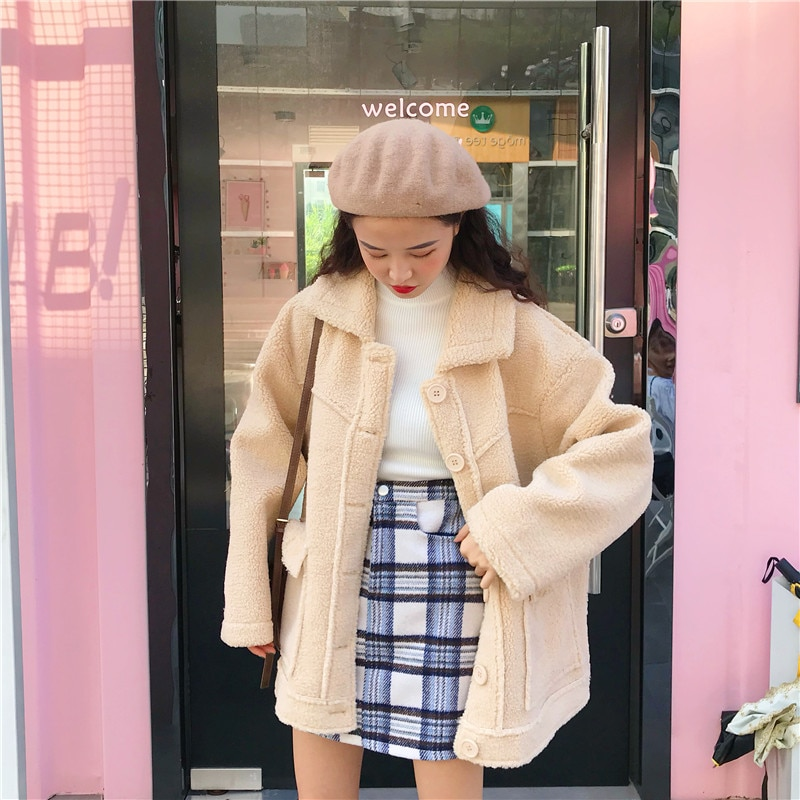 Winter Women's Retro Lapel Thick Imitation Wool Cotton Coat BF Wind Loose Long Sleeve Casual Cotton Jacket enlarge