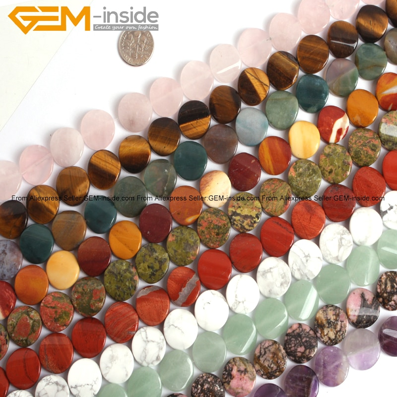 Gem-inside Natural Twist Twisted Coin Stone Beads For Jewelry Making Selectable Stone 16mm 15inches