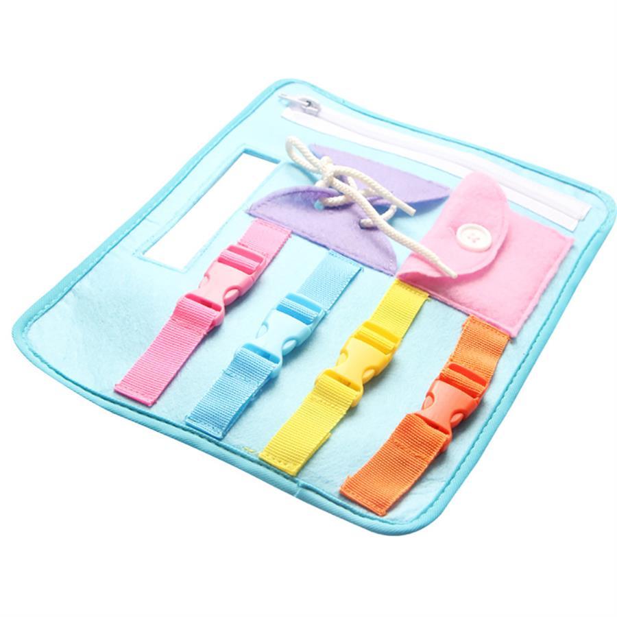 Botão Zip Rendas Fivela Placa de Habilidades Básicas de Vida Montessori Criança Aprender a se Vestir