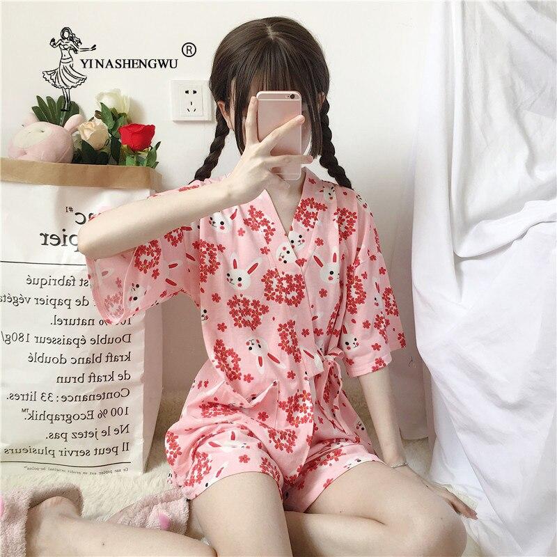Sakura coelho kimono feminino curto pijamas define ásia japão yukata algodão shorts roupões de banho manga curta homewear quimono japonês